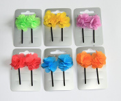 6 Packs Fabric Flower Hair Grips Clips Accessories Ideal Party Bag Filler in Pink Purple Orange Green Yellow and Blue