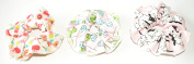 pack of 3 cute and colourful 100% canvas cotton design scrunchie hair ties