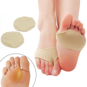 sourcingmap Pair Fabric Ball Foot Insoles Gel Pads Cushions Metatarsal Sore Forefoot Support