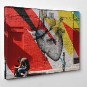 Big Art Shop - Graffiti Heart - Framed Canvas Art Print - Graffiti Street Art arrow in heart, 36x24 inches / 91x61x3.8 cm