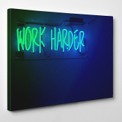 Big Art Shop - Work Harder - Framed Canvas Art Print - Inspiration neon sign harder work, 36x24 inches / 91x61x3.8 cm