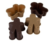 PINFI 81150 - Pack of 4 Mini Silicone Moulds, Design Gingerman, Chocolate and Moka