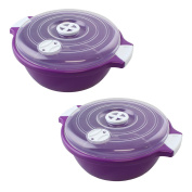 Lantelme 4524 Bowl 1.8 L with Lid with steam vent for microwave, Dishwasher-Safe plastic, colour