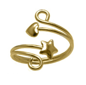 RS JEWELS Beautiful 14K Yellow Gold Over 925 Sterling Silver Adjustable Star and Heart Swirl Toe Ring or Finger Ring