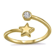 RS JEWELS Beautiful 14K Yellow Gold Over 925 Sterling Silver Adjustable Bypass Toe Ring-White CZ Diamond Star Shape Ring