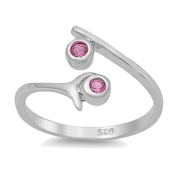 RS JEWELS Beautiful 14K White Gold Over 925 Sterling Silver Bypass Ring-Created Ruby Adjustable Toe Ring