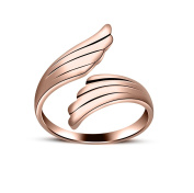 RS JEWELS Beautiful 14K Rose Gold Over 925 Sterling Silver Angel Wings Ring-Bypass Adjustable Ring