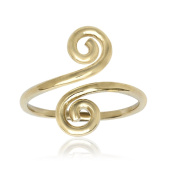 RS JEWELS Awesome 14k Yellow Gold Over 925 Sterling Silver Spiral Bypass Ring- Adjustable Toe Ring