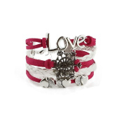 Pink and White Snowflake Bracelet with Infinity Symbol Love Heart Infinity Leather Trend
