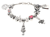 'Alice in Wonderland' Themed Ladies Childrens Charm Bracelet with Gift Box Women's Jewellery