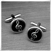 Silver Music note Cufflinks