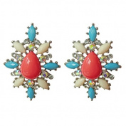 Adorning Ava Statement Floral Jewel Earrings Ornate Cluster Stud Pastel Pretty Prom