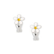 Claire's Girls and Womens Enamel Daisy Clip On Stud Earrings in White