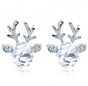 Malloom Crystal Gemstone Earrings Luxury Three-dimensional Christmas Reindeer Antlers Earrings Gift