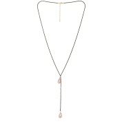 Fashion Black Long Chain With Light Pink Stone Studded Long .  Chain