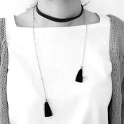 iszie jewellery New Bohemian Elegant Retro Punk Gothic Fashion Long Black Velvet PU Leather Chain Stretch Tattoo Choker Tassel Necklace