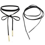 Choker Necklace, 2 Pieces Black Long Velvet Chain Stretch Punk Tattoo Choker Tassel Necklace for Women Teens Girls