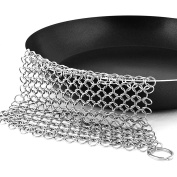 Pixnor Cast Iron Cookware Cleaner 20cm x 15cm Stainless Steel Chainmail Scrubber for Skillet Pan Griddle and Wok