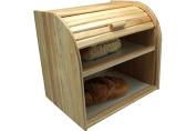 Wooden Double Decker Bread Bin Kitchen Food Bread Pita Storage Box Bins Holder Rack
