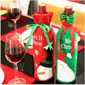 2pcs Santa Claus Snowman Red Wine Bottle Cover Bags Christmas Dinner Table Decor