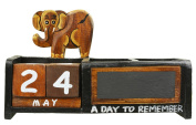 Wooden Animals Perpetual Calendar with Pen Holder