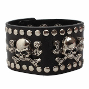 Ultra Skulls and Crossbones Leather Goth Steampunk Style bracelet wrist cuff wristbands gothic biker rock adult teens