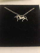 Unicorn R152 English Pewter on a Silver Platinum Plated Necklace 46cm