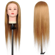 ReaseJoy 60cm Cosmetology Mannequin Manikin Training Practise Head 50% Real Human Hair with Clamp Stand