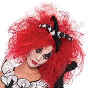 Blue Planet Fancy Dress ® Ladies Red Crimped Harlequin Wig Halloween Fancy Dress