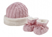 Natures Knits Organic Cotton Cable Hat & Booties Fur Lined Gift Set.Pink