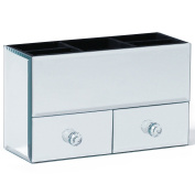Beautify Small Mirrored Glass Jewellery Box & Makeup Organiser with 2 Drawer, 5 Storage Sections & Velvet Lining