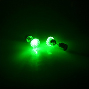 QHGstore 1Pair LED Earrings Glowing Light Bling Shiny Crystal Ear Stud Earring Green