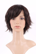 S-noilite Vogue Women Ladies Short Wig Natural Layered Wavy Cury Kanekalon Hair Dark Brown Full Wig + Free Wig Cap