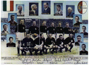 Italian Football stamps - Mint and never mounted stamp sheet featuring the Italian football team from 1942 - 1949