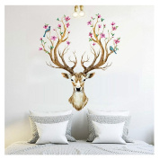 Xinantime DIY Decoration 3D Plum flower deer Removable Wall Stickers