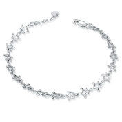 14ct White Gold Open Diamond Cut Stars Bracelet of Length 17.5 cm/ 6.5 Inch, Jewellery Gift for Women Girls