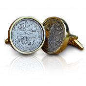 1957 Gold Sixpence Coin Cufflinks Vintage 60th Birthday Anniversary