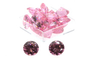 Birth Stone Jewels 8mm Pink Sapphire Round Briliant Cut Cubic Zirconia Gem Stones Pack Of 2