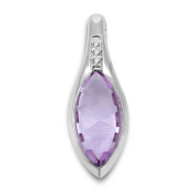 Miore 9ct White Gold Teardrop Cabochon Amethyst and Diamond Pendant without Chain MG9066P