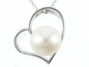 925 Stamped Sterling Silver Real Cultured Freshwater Pearl Heart Pendant Chain Necklaces Present Gift
