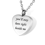 """HOUSWEETY Cremation Jewellery Stainless Steel """"you'll stay here right beside me"""" Urn Pendant Necklace - Keepsake Ashes Memorial"""