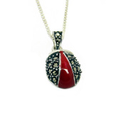 GOLDMAJOR Sterling Silver and Marcasite Ladybird Pendant on a Chain of Length 45.7cm