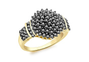 9ct Yellow Gold 1.00ct Black Diamond Cluster Ring