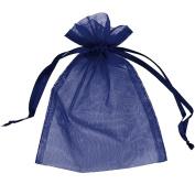 100 pcs Sheer Organza Drawstring Pouches Gift Bags Navy Blue Colour 10cm x 15cm