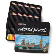 Colore Coloured Pencils - 48 Premium Pre-Sharpened Colour Pencil Set For Drawing Colouring Pages - Great Art School Supplies For Kids & Adults Colouring Books - 48 Colours