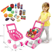 (SI-TY1029-Pink) Pink Kids Children Boys/Girls Shopping Trolley Cart w/ Fruits & Vegetables Kids Play Set Toy Basket for Toy Shop Kitchen Over by Lado