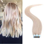 TheFashionWay Brazilian Human Hair Extensions Tape in Silky Straight Weft Remy Virgin Hair