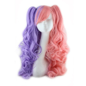 70cm Long Curly Cosplay Wigs,Clip On Ponytails with Free Wig Cap for Costume Halloween Party