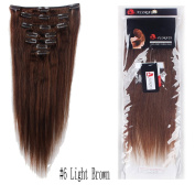 65g 41cm #6 Light Brown Full Head Clip In Remy Human Hair Extensions Straight 7 Pieces With 15 Clips Attached Single Wefts Real Natural Soft Beauty Hairpiece