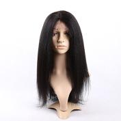 Doubleleafwig Kinky Straight 100% Brazilian Virgin Human Hair 4x 4 Silk Base Glueless Lace Front Wig Natural Colour